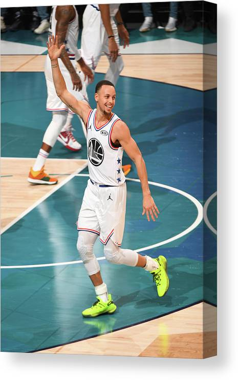 Nba Pro Basketball Canvas Print featuring the photograph Stephen Curry by Garrett Ellwood