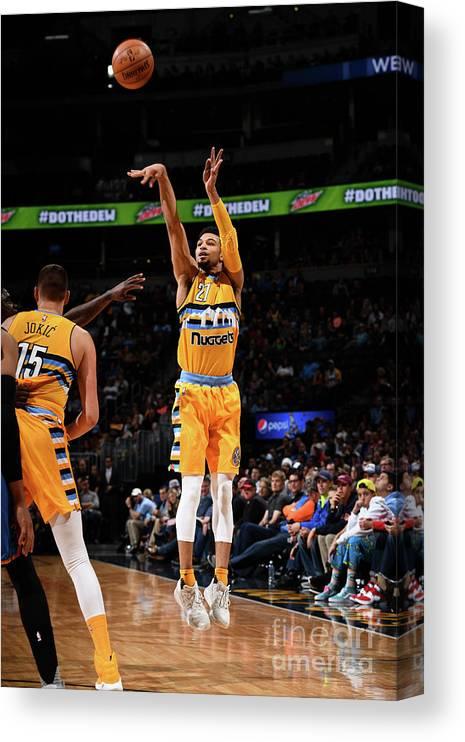 Nba Pro Basketball Canvas Print featuring the photograph Jamal Murray by Garrett Ellwood
