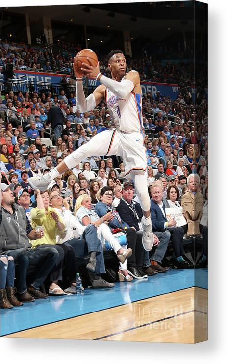 Sports Ball Canvas Print featuring the photograph Russell Westbrook by Layne Murdoch