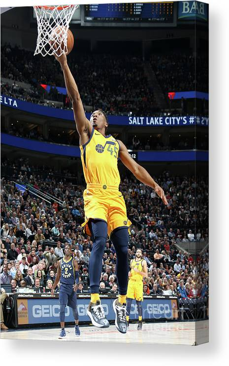 Nba Pro Basketball Canvas Print featuring the photograph Donovan Mitchell by Melissa Majchrzak