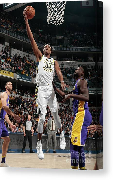 Sports Ball Canvas Print featuring the photograph Myles Turner by Ron Hoskins