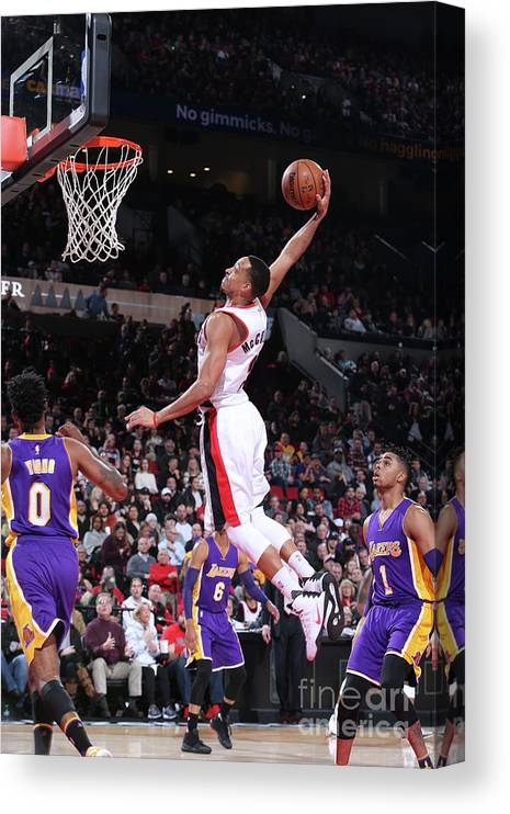 Nba Pro Basketball Canvas Print featuring the photograph C.j. Mccollum by Sam Forencich