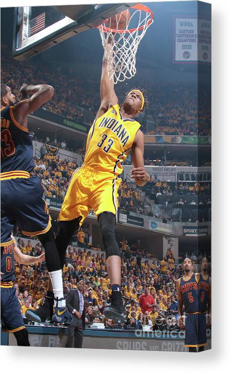 Playoffs Canvas Print featuring the photograph Myles Turner by Ron Hoskins