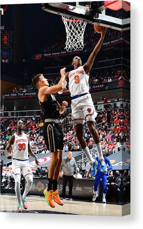Atlanta Canvas Print featuring the photograph 2021 NBA Playoffs - New York Knicks v Atlanta Hawks by Scott Cunningham