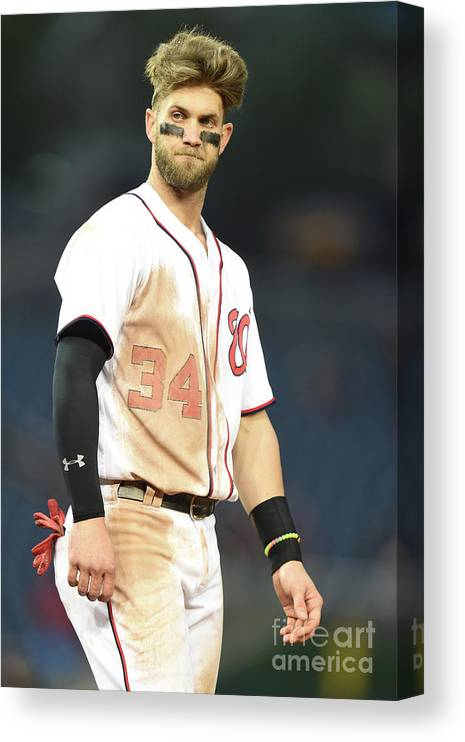 Three Quarter Length Canvas Print featuring the photograph Bryce Harper by Mitchell Layton