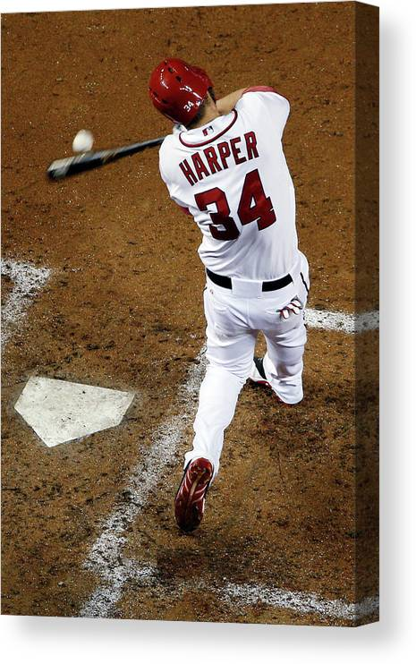 American League Baseball Canvas Print featuring the photograph Bryce Harper by Rob Carr