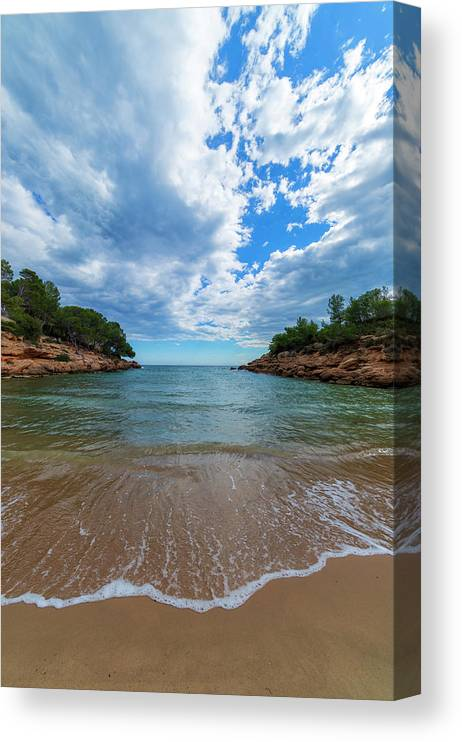 Color Canvas Print featuring the photograph Calafat Beach In Tarragona by Vicen Photography