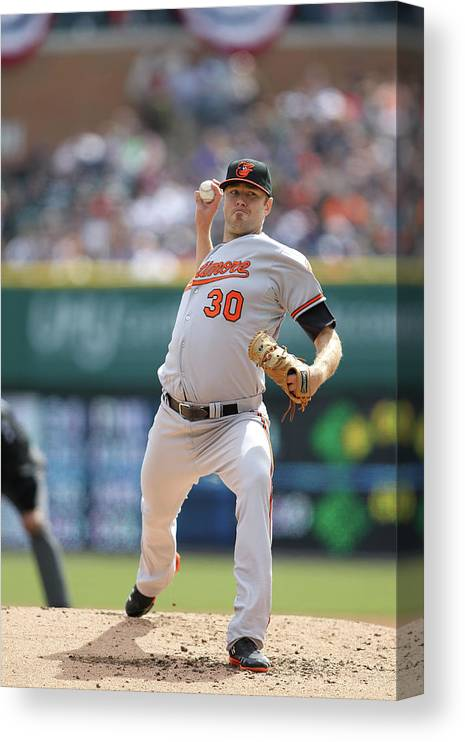 American League Baseball Canvas Print featuring the photograph Chris Tillman by John Grieshop