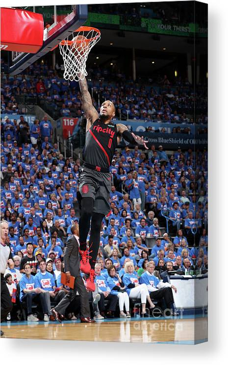 Playoffs Canvas Print featuring the photograph Damian Lillard by Joe Murphy