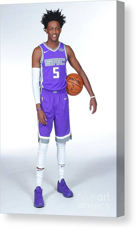 Media Day Canvas Print featuring the photograph De'aaron Fox by Rocky Widner