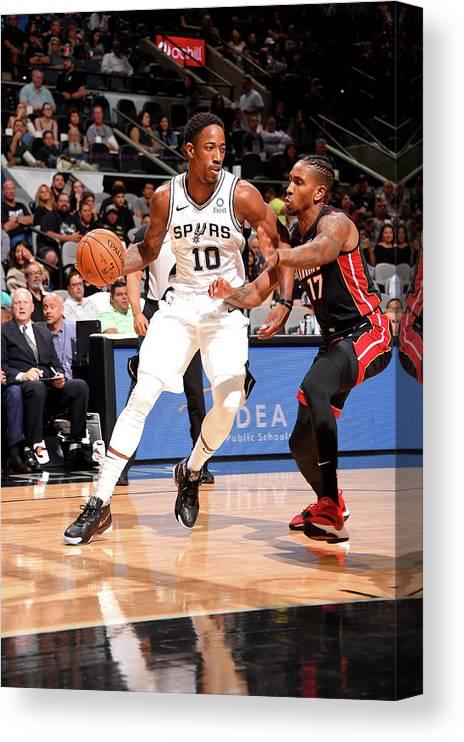 Nba Pro Basketball Canvas Print featuring the photograph Demar Derozan by Bill Baptist