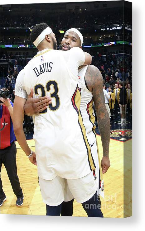 Smoothie King Center Canvas Print featuring the photograph Demarcus Cousins and Anthony Davis by Layne Murdoch