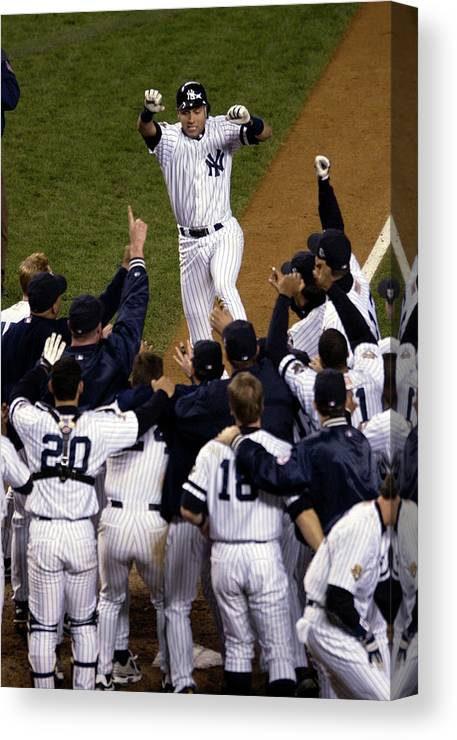 Celebration Canvas Print featuring the photograph Derek Jeter by Ezra Shaw