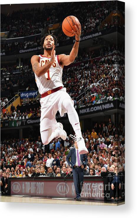 Nba Pro Basketball Canvas Print featuring the photograph Derrick Rose by Jesse D. Garrabrant