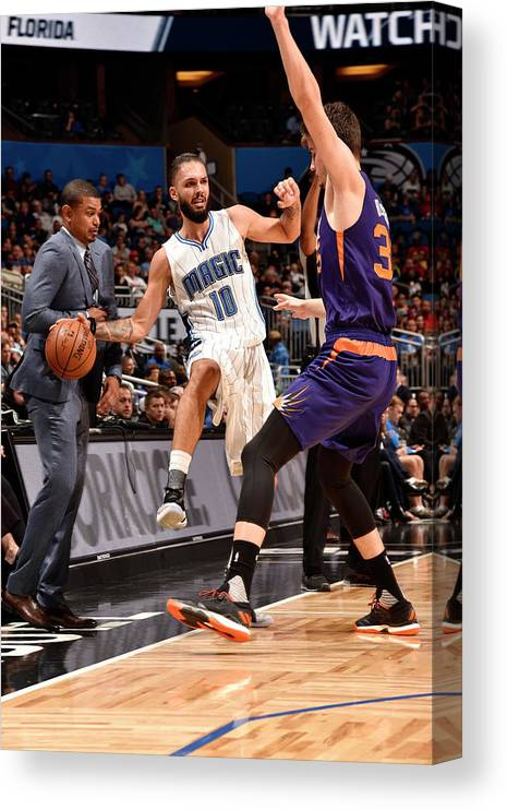 Nba Pro Basketball Canvas Print featuring the photograph Evan Fournier by Gary Bassing