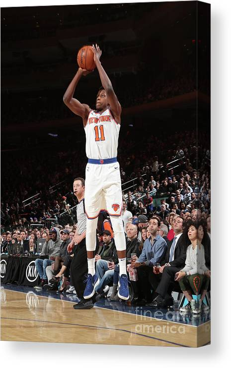 Sports Ball Canvas Print featuring the photograph Frank Ntilikina by Nathaniel S. Butler