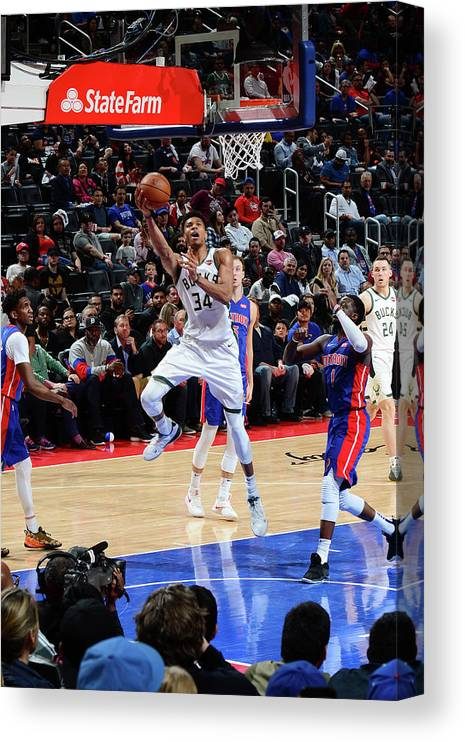 Playoffs Canvas Print featuring the photograph Giannis Antetokounmpo by Chris Schwegler