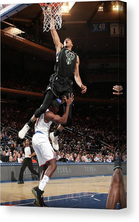 Tim Hardaway Jr. Canvas Print featuring the photograph Giannis Antetokounmpo by Ned Dishman