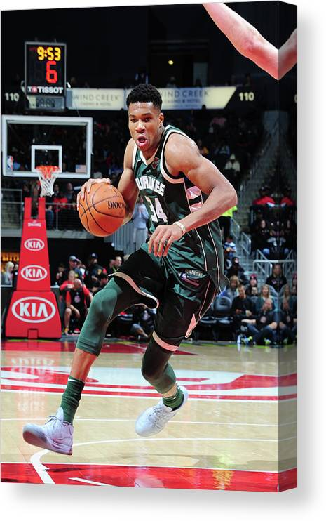 Sport Canvas Print featuring the photograph Giannis Antetokounmpo by Scott Cunningham
