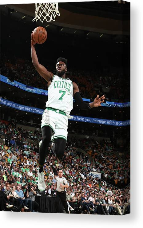 Playoffs Canvas Print featuring the photograph Jaylen Brown by Nathaniel S. Butler