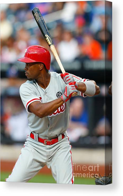 American League Baseball Canvas Print featuring the photograph Jimmy Rollins by Mike Stobe