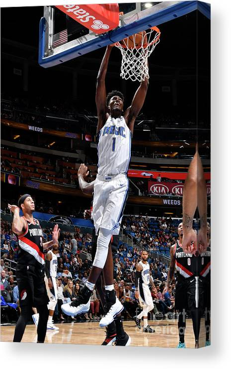 Nba Pro Basketball Canvas Print featuring the photograph Jonathan Isaac by Fernando Medina