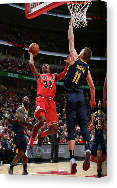 Chicago Bulls Canvas Print featuring the photograph Kris Dunn by Gary Dineen