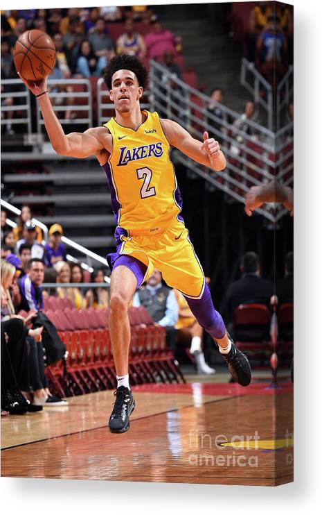 Nba Pro Basketball Canvas Print featuring the photograph Lonzo Ball by Andrew D. Bernstein
