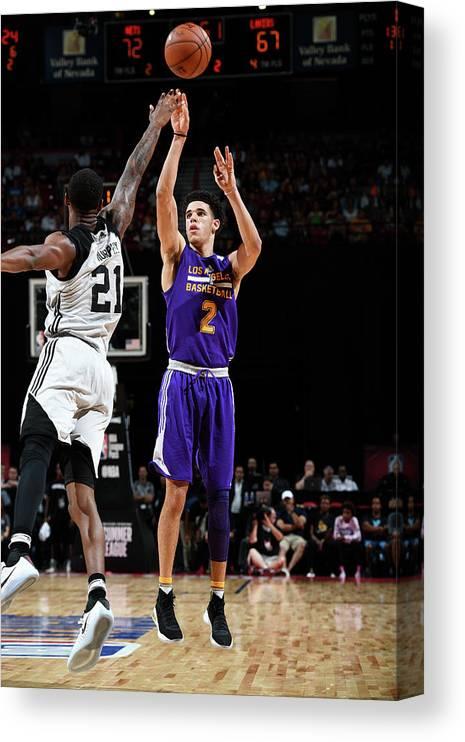 Nba Pro Basketball Canvas Print featuring the photograph Lonzo Ball by Garrett Ellwood