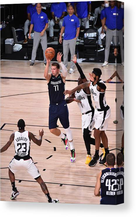 Playoffs Canvas Print featuring the photograph Los Angeles Clippers v Dallas Mavericks - Game Four by David Dow