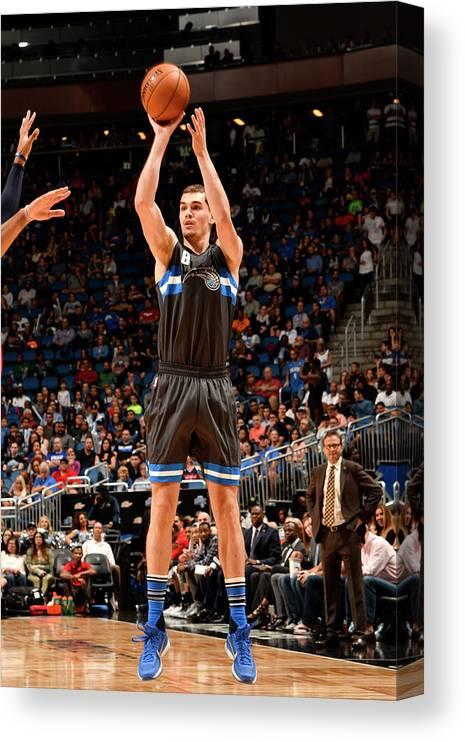 Nba Pro Basketball Canvas Print featuring the photograph Mario Hezonja by Fernando Medina
