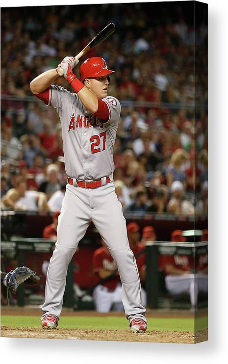 People Canvas Print featuring the photograph Mike Trout by Christian Petersen