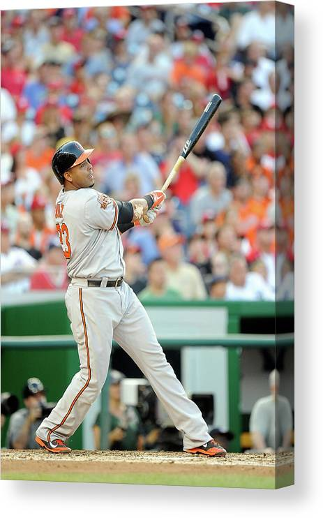 American League Baseball Canvas Print featuring the photograph Nelson Cruz by Greg Fiume