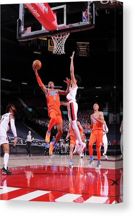 Nba Pro Basketball Canvas Print featuring the photograph Oklahoma City Thunder v Portland Trail Blazers by Sam Forencich