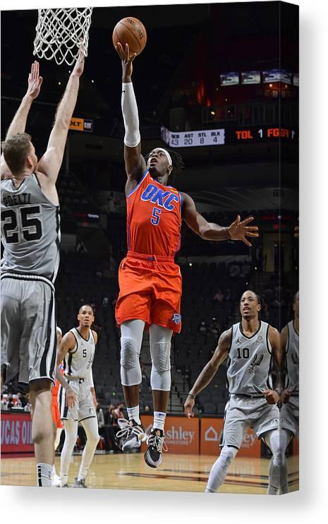 Nba Pro Basketball Canvas Print featuring the photograph Oklahoma City Thunder vs. San Antonio Spurs by Logan Riely