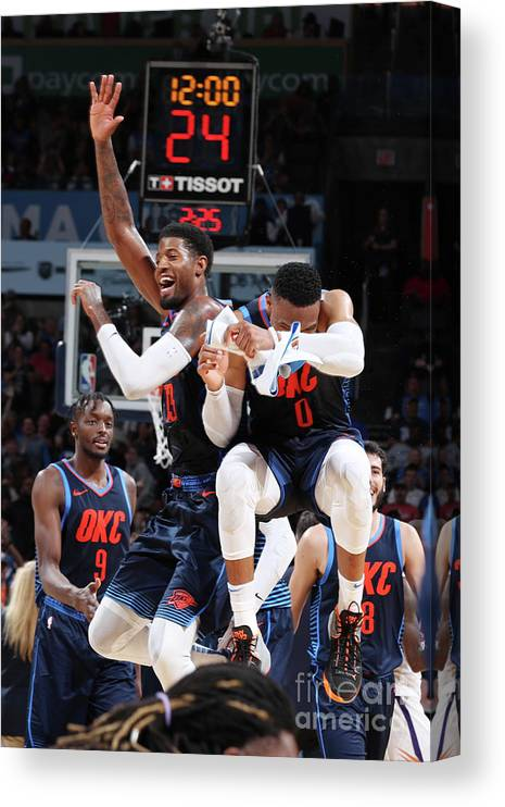 Nba Pro Basketball Canvas Print featuring the photograph Paul George and Russell Westbrook by Zach Beeker