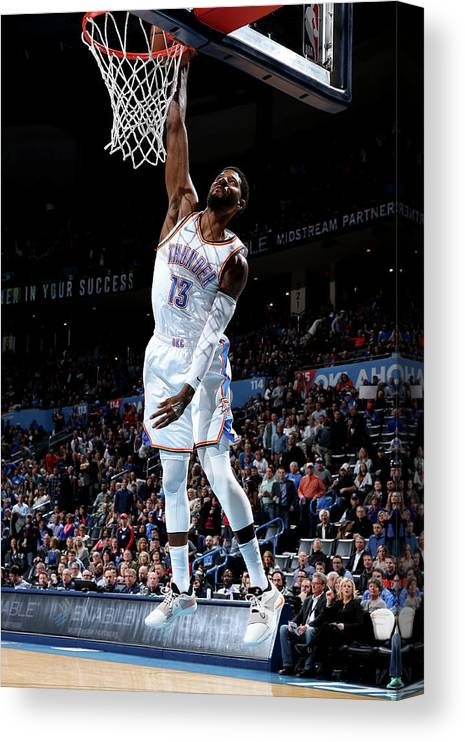 Nba Pro Basketball Canvas Print featuring the photograph Paul George by Zach Beeker