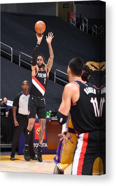 Nba Pro Basketball Canvas Print featuring the photograph Portland Trail Blazers v LA Lakers by Adam Pantozzi