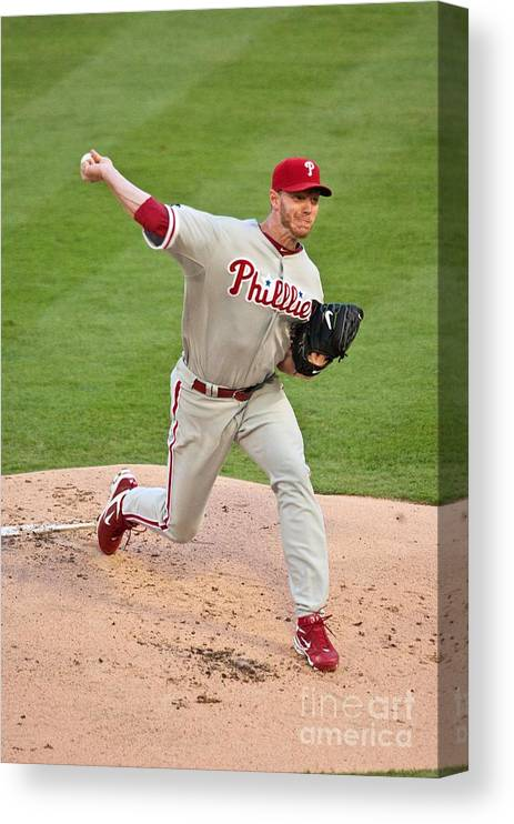 People Canvas Print featuring the photograph Roy Halladay by Ronald C. Modra