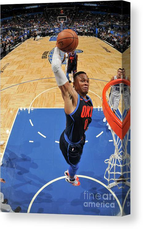 Nba Pro Basketball Canvas Print featuring the photograph Russell Westbrook by Fernando Medina