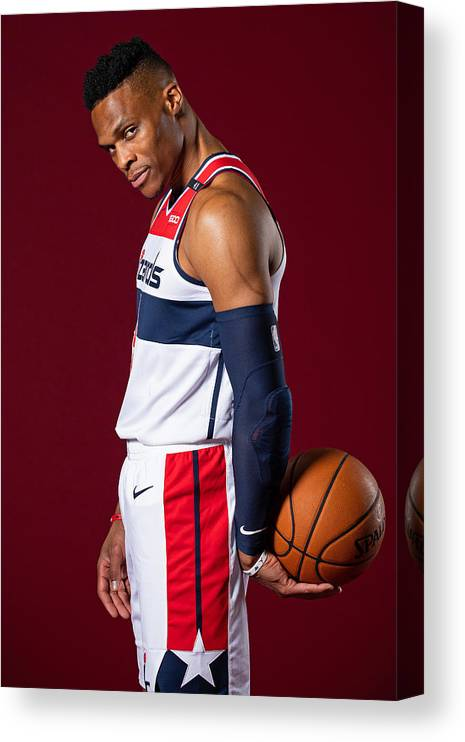 Media Day Canvas Print featuring the photograph Russell Westbrook by Stephen Gosling