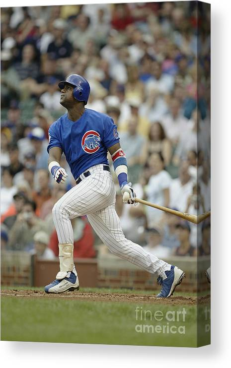 National League Baseball Canvas Print featuring the photograph Sammy Sosa by Ron Vesely