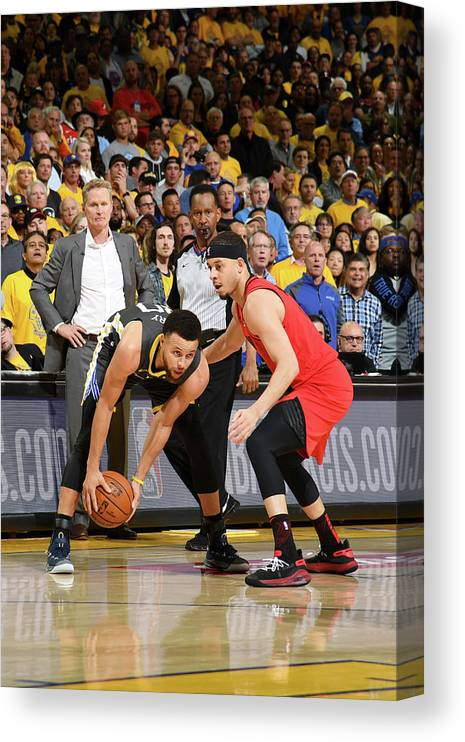 Playoffs Canvas Print featuring the photograph Stephen Curry and Seth Curry by Noah Graham