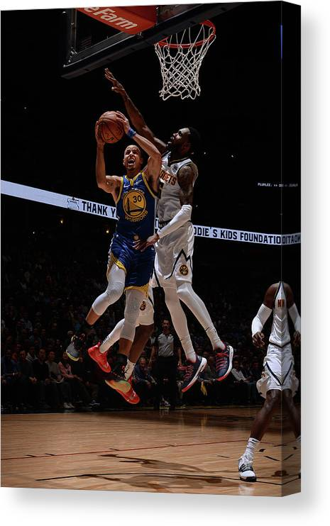 Nba Pro Basketball Canvas Print featuring the photograph Stephen Curry by Bart Young