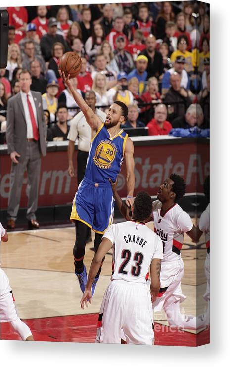 Playoffs Canvas Print featuring the photograph Stephen Curry by Cameron Browne