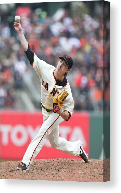 San Francisco Canvas Print featuring the photograph Tim Lincecum by Jason O. Watson