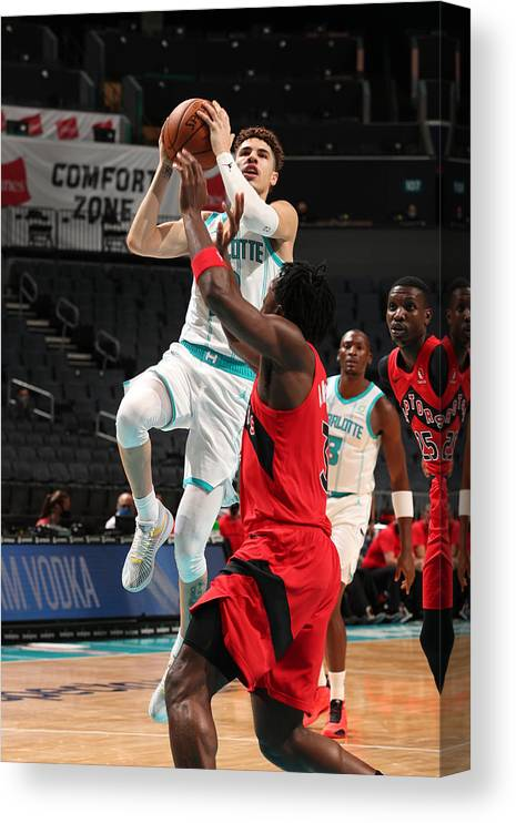 Nba Pro Basketball Canvas Print featuring the photograph Toronto Raptors v Charlotte Hornets by Kent Smith