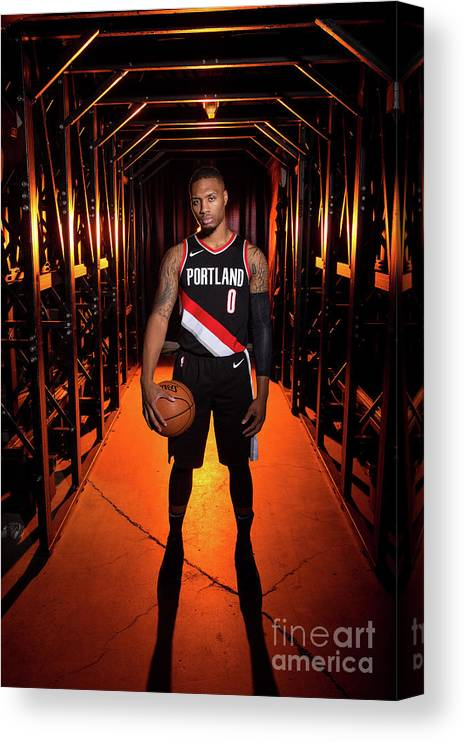 Media Day Canvas Print featuring the photograph Damian Lillard by Sam Forencich