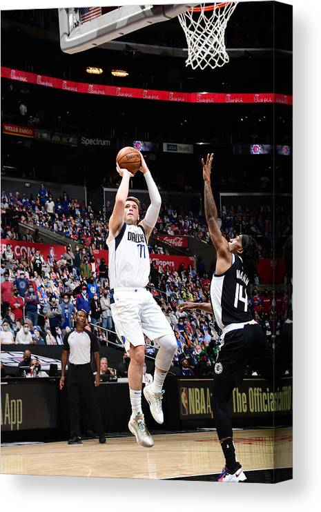 Playoffs Canvas Print featuring the photograph 2021 NBA Playoffs - Dallas Mavericks v LA Clippers by Adam Pantozzi