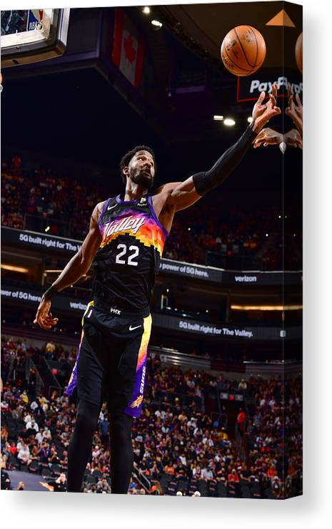 Playoffs Canvas Print featuring the photograph 2021 NBA Playoffs - Los Angeles Lakers v Phoenix Suns by Barry Gossage